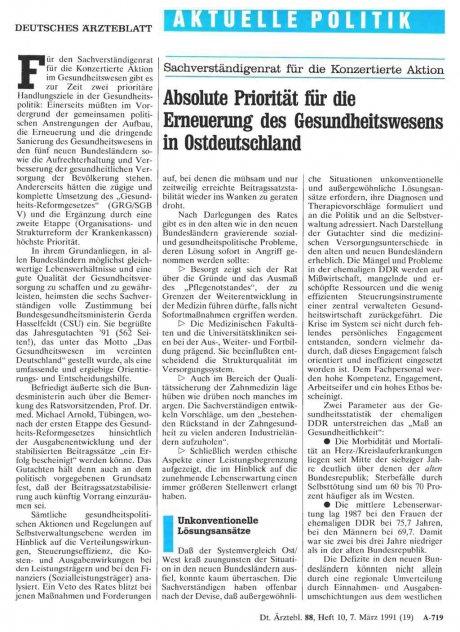 Sachverständigenrat für die Konzertierte Aktion: Absolute Priorität für die Erneuerung des Gesundheitswesens in Ostdeutschland