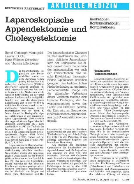 Laparoskopische Appendektomie und Cholezystektomie: Indikationen, Kontraindikationen und Komplikationen
