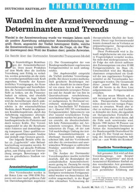 Wandel in der Arzneiverordnung - Determinanten und...