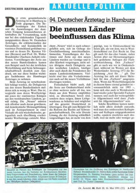 94. Deutscher Ärztetag in Hamburg