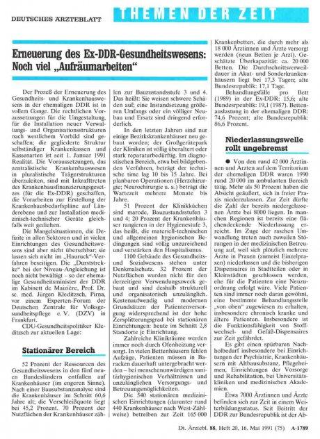 Erneuerung des Ex-DDR-Gesundheitswesens