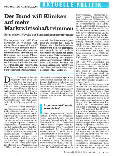 Der Bund will Kliniken auf mehr Marktwirtschaft...