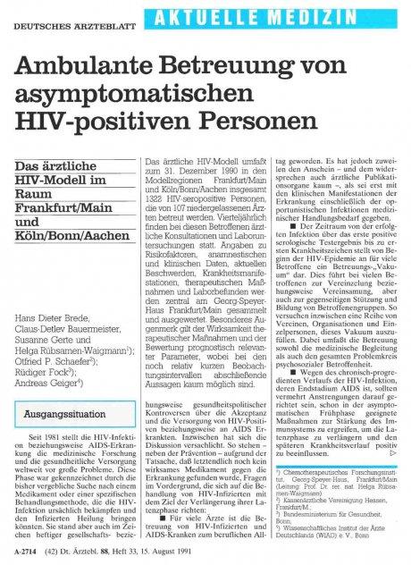 Ambulante Betreuung von asymptomatischen...