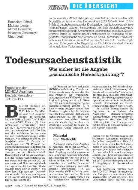 """Todesursachenstatistik: Wie sicher ist die Angabe """"ischämische Herzerkrankung""""?"""