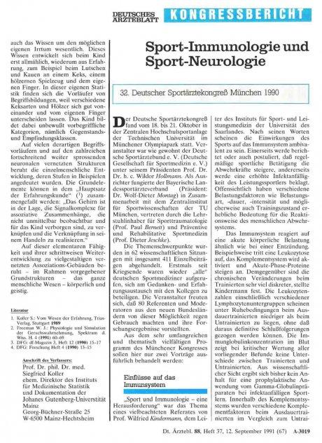 Sport-Immunologie und Sport-Neurologie