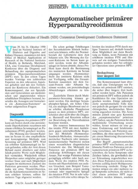 Asymptomatischer primärer Hyperparathyreoidismus