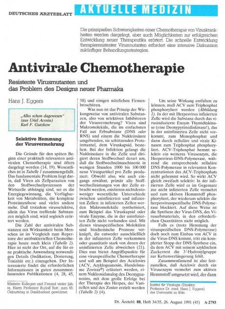 Antivirale Chemotherapie