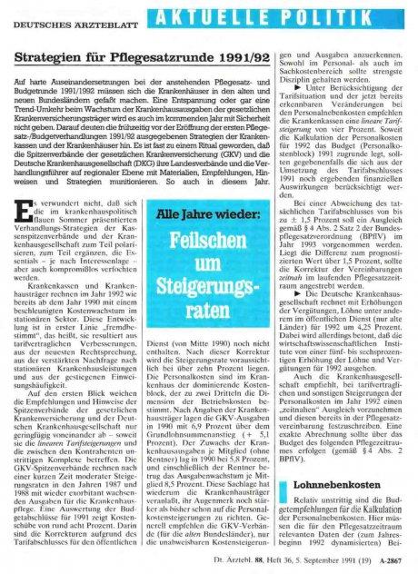 Strategien für Pflegesatzrunde 1991/92