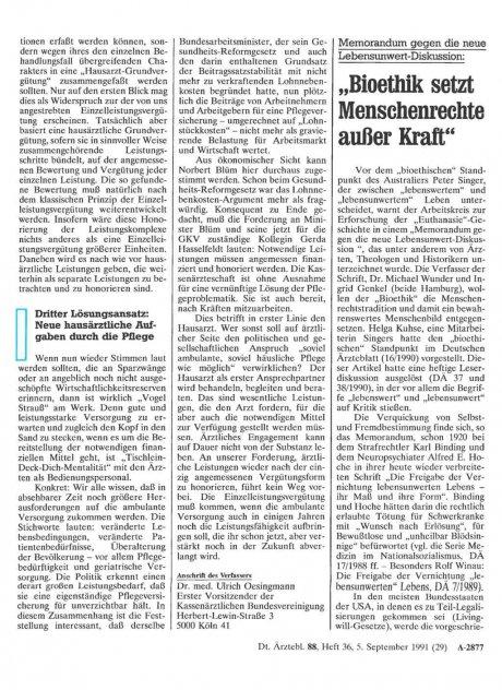Memorandum gegen die neue Lebensunwert-Diskussion