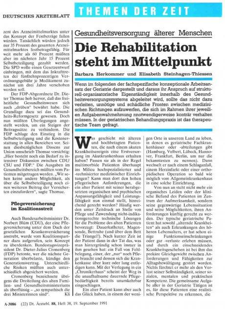 Gesundheitsversorgung älterer Menschen: Die Rehabilitation steht im Mittelpunkt