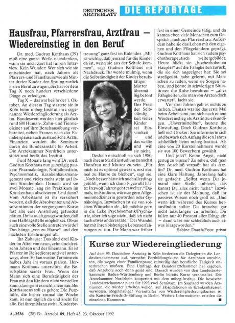 Hausfrau, Pfarrersfrau, Arztfrau – Wiedereinstieg...