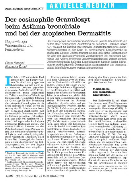 Der eosinophile Granulozyt beim Asthma bronchiale...