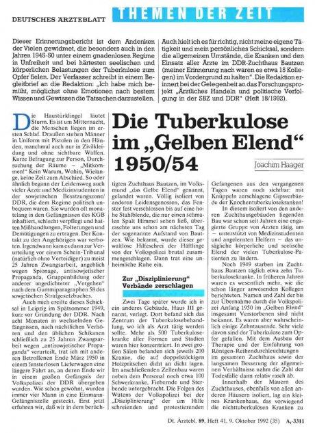 """Die Tuberkulose im """"Gelben Elend"""" 1950/54"""