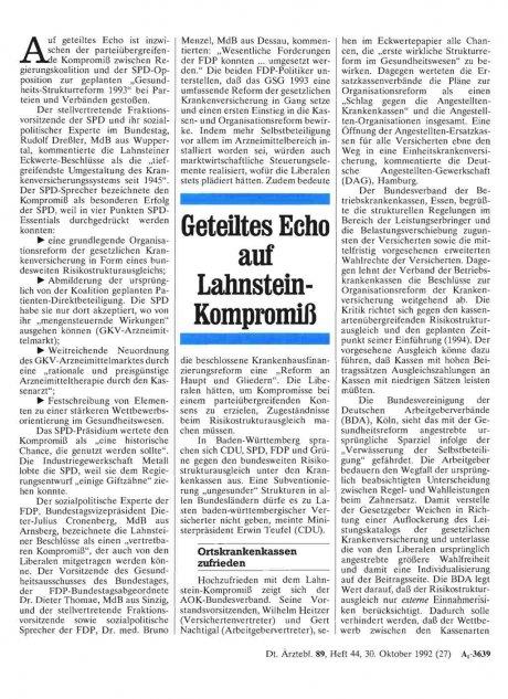 Geteiltes Echo auf Lahnstein-Kompromiß