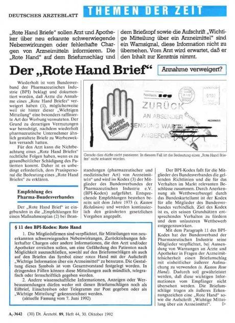 """Der """"Rote Hand Brief"""": Annahme verweigert?"""