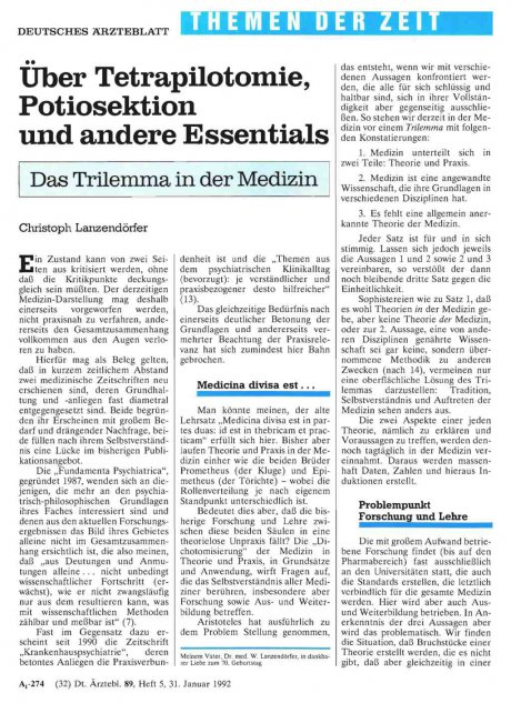 Über Tetrapilotomie, Potiosektion und andere...