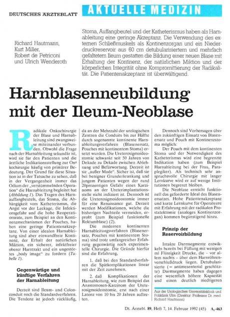 Harnblasenneubildung mit der Ileum-Neoblase