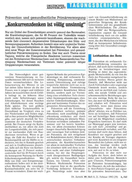 Prävention und gesundheitliche Primärversorgung