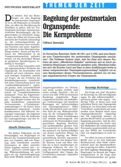 Regelung der postmortalen Organspende