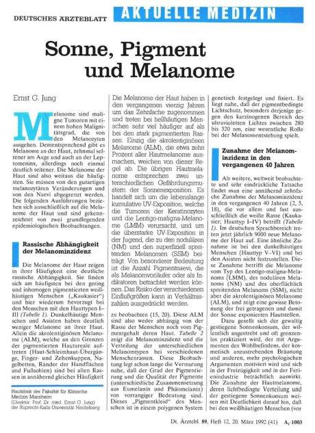 Sonne, Pigment und Melanome