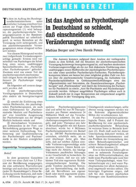 Ist das Angebot an Psychotherapie in Deutschland...