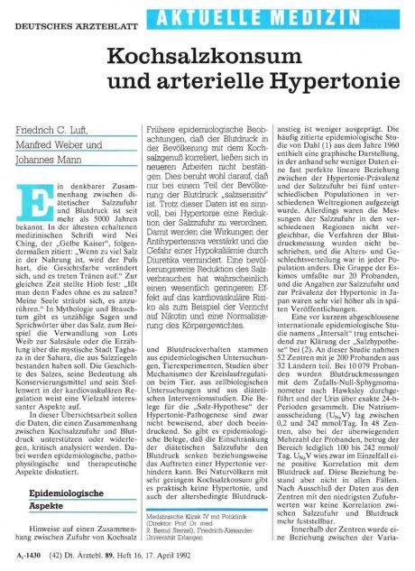 Kochsalzkonsum und arterielle Hypertonie