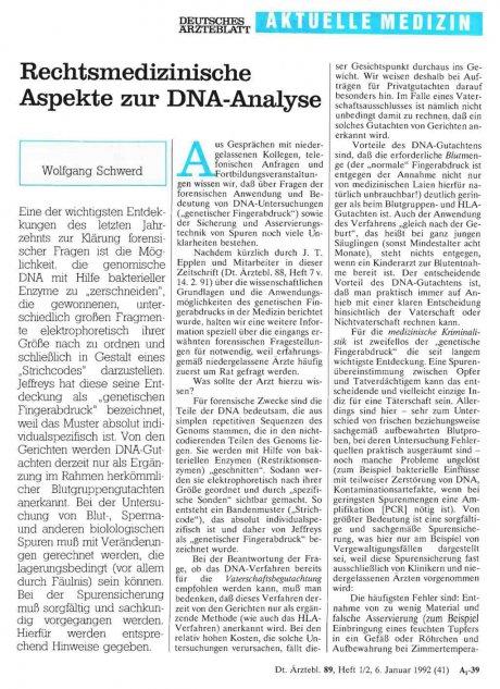 Rechtsmedizinische Aspekte zur DNA-Analyse