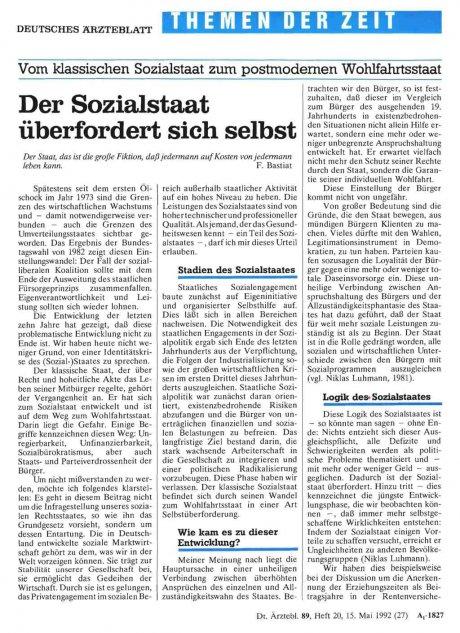 Vom klassischen Sozialstaat zum postmodernen...