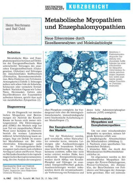 Metabolische Myopathien und Enzephalomyopathien