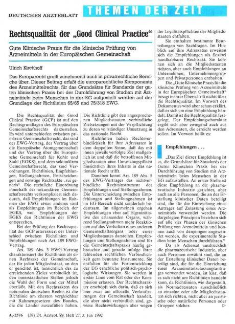"Rechtsqualität der ""Good Clinical Practice"""