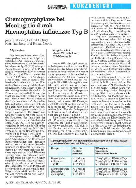 Chemoprophylaxe bei Meningitis durch Haemophilus...