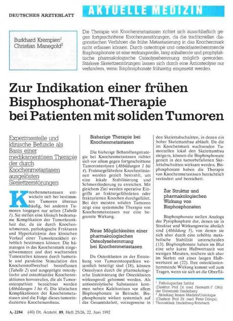 Zur Indikation einer frühen Bisphosphonat-Therapie...