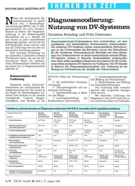 Diagnosencodierung: Nutzung von DV-Systemen