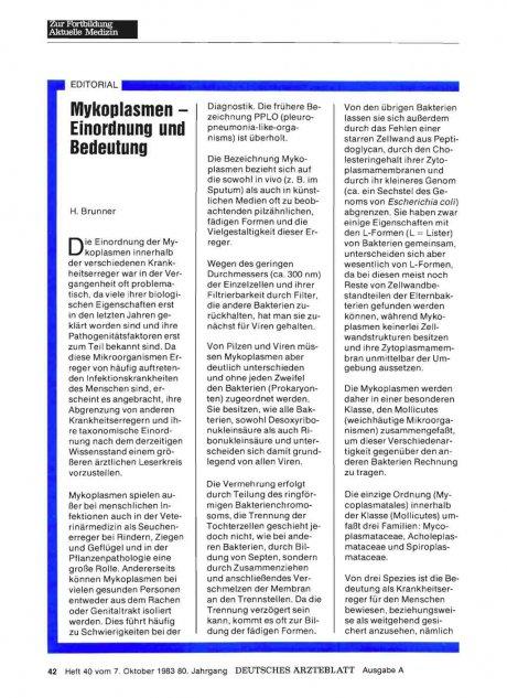 Mykoplasmen - Einordnung und Bedeutung