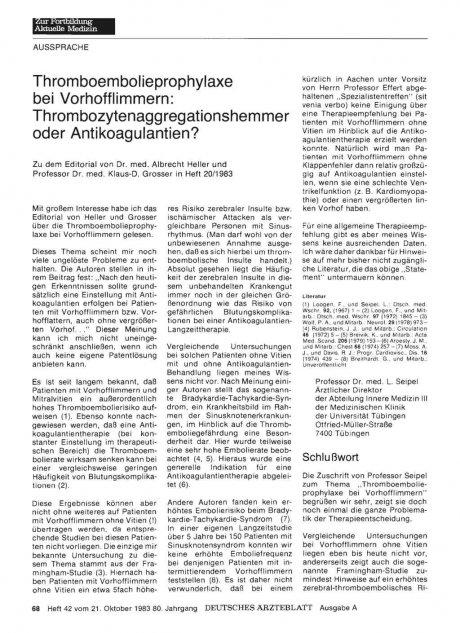 Thromboembolieprophylaxe bei Vorhofflimmern