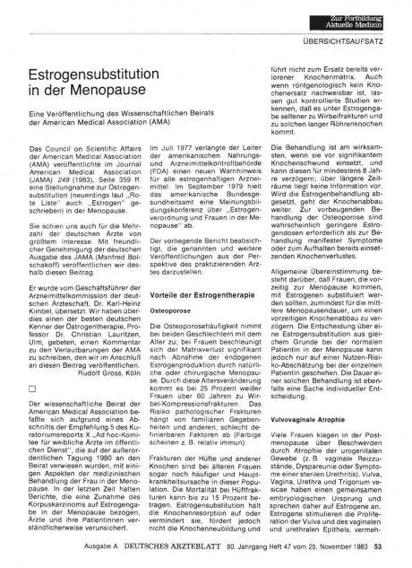 Estrogensubstitution in der Menopause