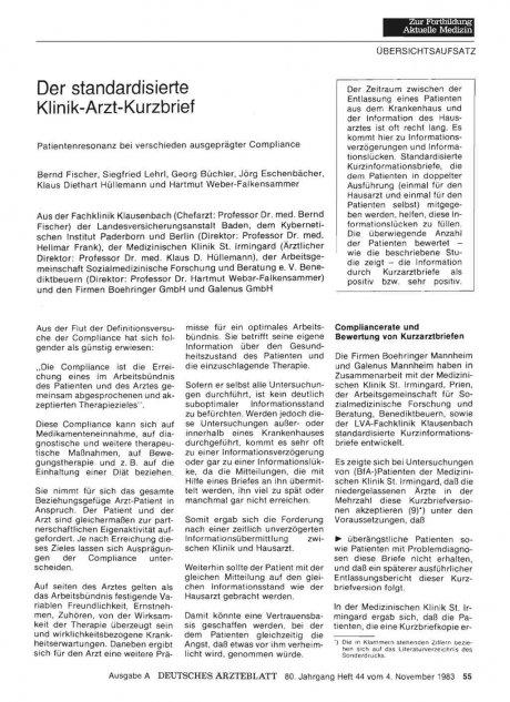 Der standardisierte Klinik -Arzt-Kurzbrief