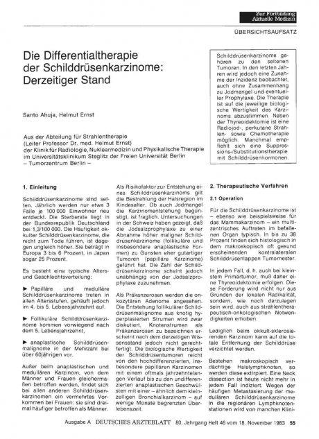 Die Differentialtherapie der Schilddrüsenkarzinome