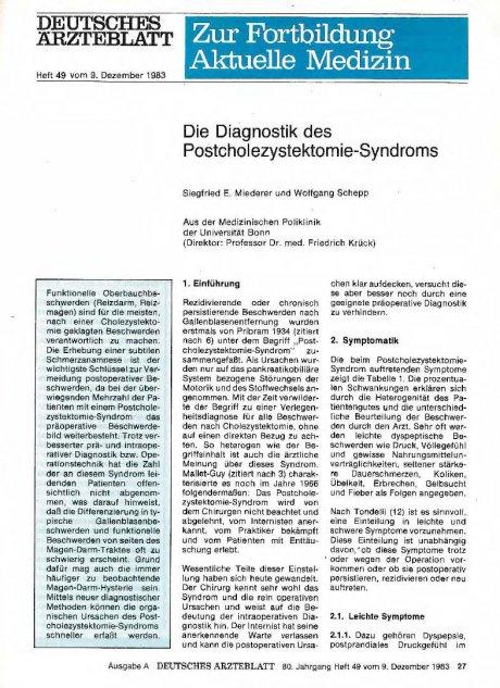 Die Diagnostik des Postcholezystektomie-Syndroms