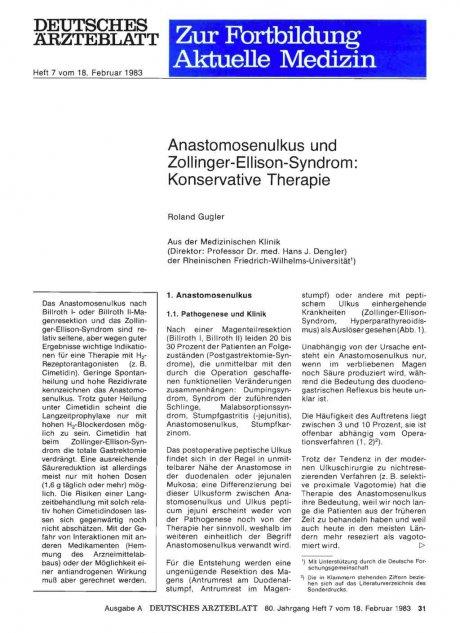 Anastomosenulkus und Zollinger-Ellison-Syndrom