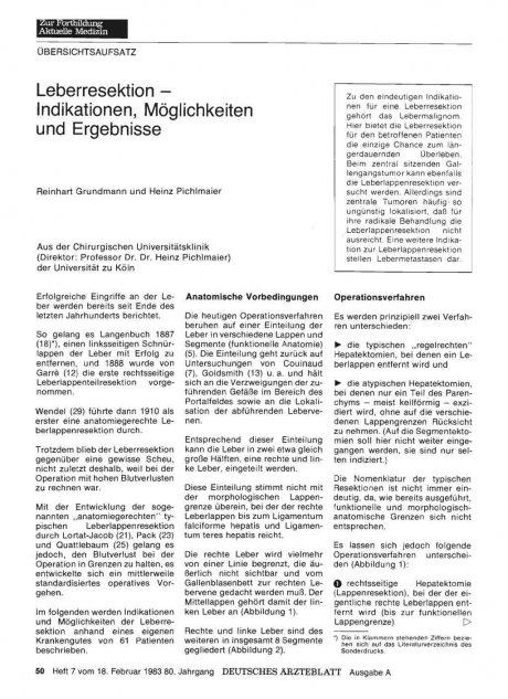 Leberresektion — Indikationen, Möglichkeiten und...