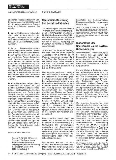 Gentamicin-Dosierung bei Geriatrie-Patienten