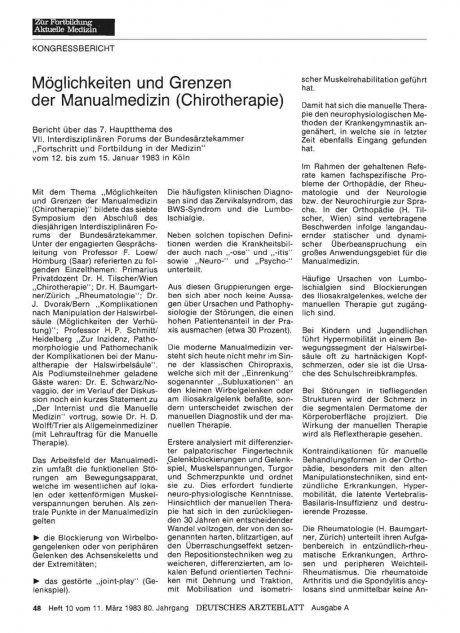 Möglichkeiten und Grenzen der Manualmedizin...
