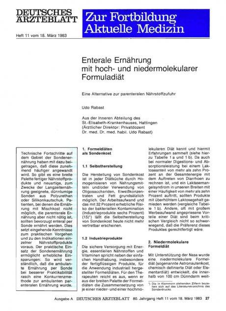Enterale Ernährung mit hoch- und niedermolekularer...