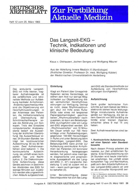 Das Langzeit-EKG — Technik, Indikationen und...