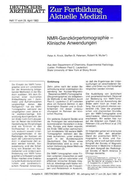 NMR-Ganzkörpertomographie — Klinische Anwendungen