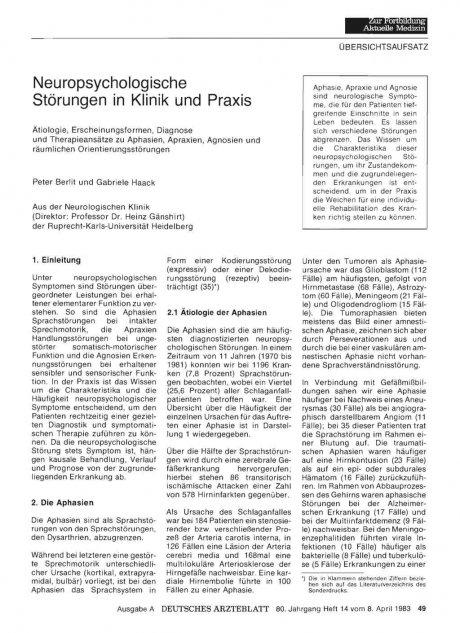 Neuropsychologische Störungen in Klinik und Praxis