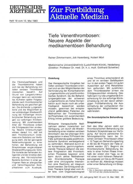 Tiefe Venenthrombosen