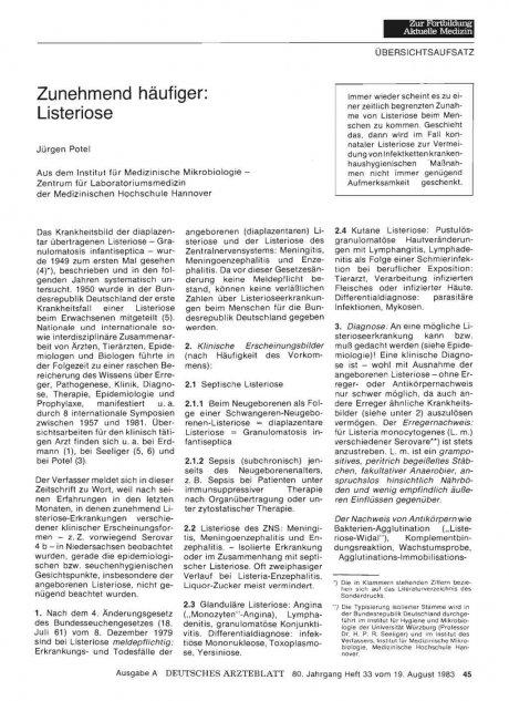 Zunehmend häufiger: Listeriose