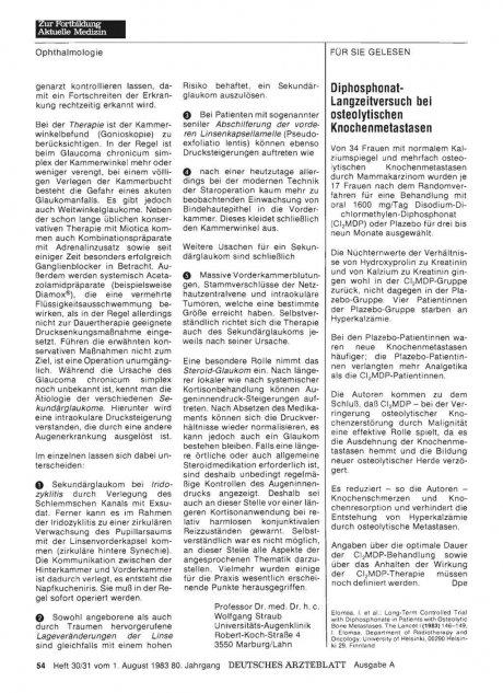 Diphosphonat- Langzeitversuch bei osteolytischen...